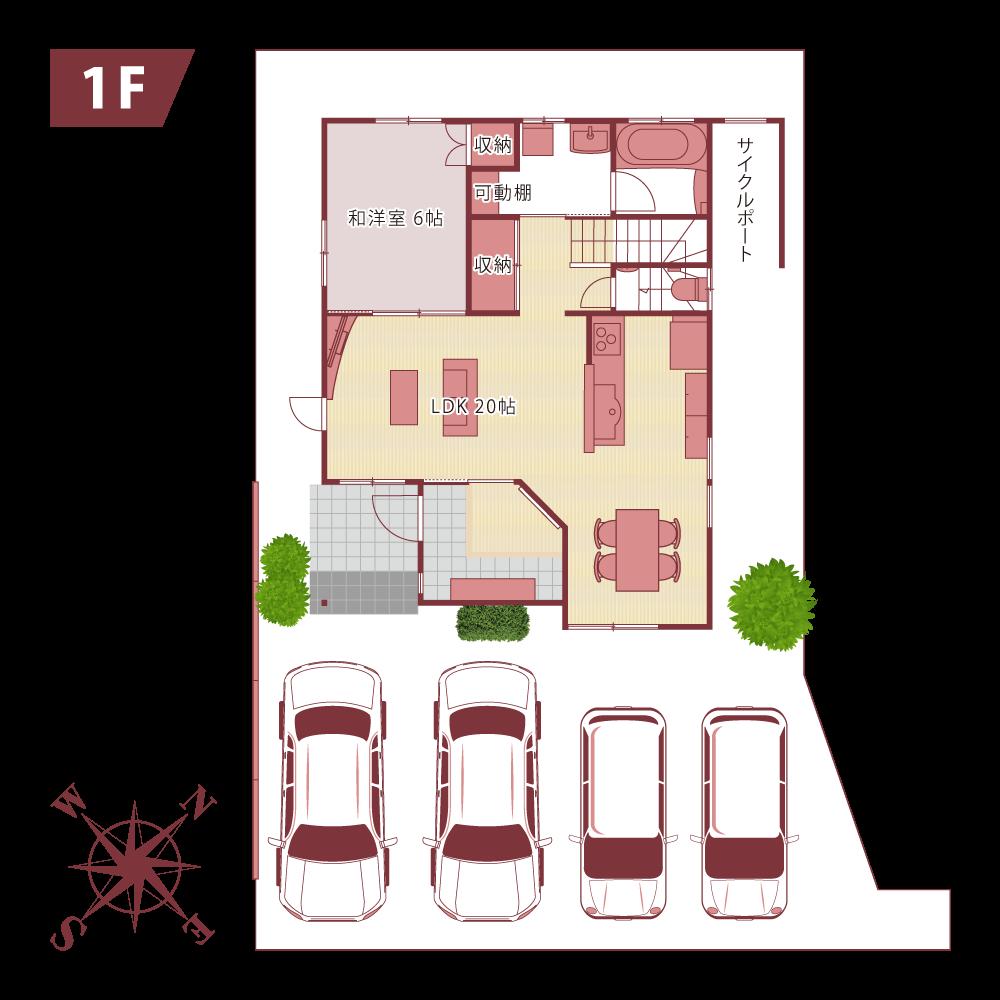 NAKASONEの家新築モデルハウスfloor map1f