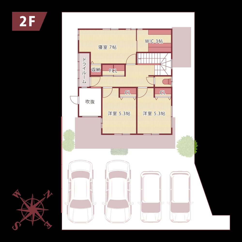 NAKASONEの家新築モデルハウスfloor map2f